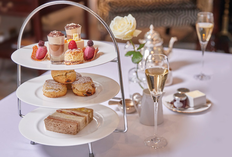 Afternoon tea includes a glass of Champagne Pommery.